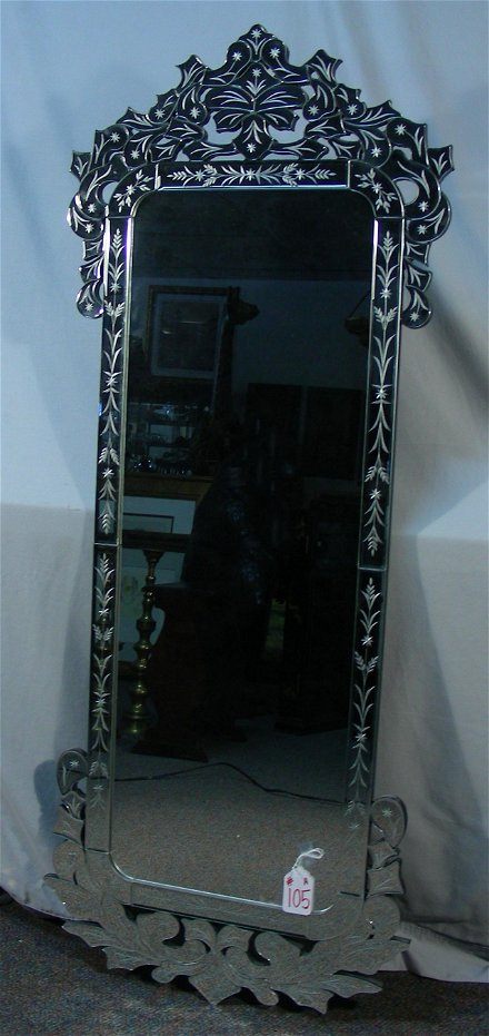 For Auction Tall Venetian Glass Mirror With Etched Panels 0105a On Jun 27 2020 Chamberlain S Auction Galleries In Mi