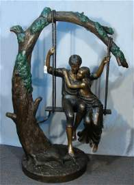 OUTSTANDING LARGE BRONZE SCULPTURE OF LOVERS SEATED ON