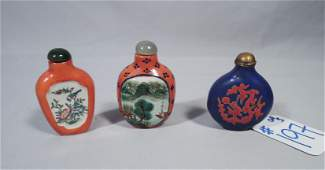 GROUP OF THREE VINTAGE CHINESE SNUFF BOTTLES