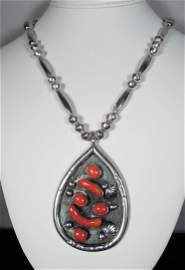 VINTAGE NATIVE AMERICAN STERLING SILVER & CORAL