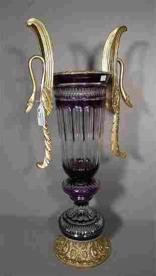 BEAUTIFUL GILT BRONZE & AMETHYST OVERLAY CRYSTAL VASE
