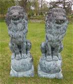 PAIR VINTAGE BRONZE LIONS SEATED ON BALLS
