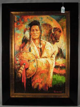 "ORIGINAL OIL ON CANVAS ""INDIAN"" BY TROY DENTON"