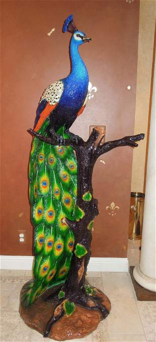 SPECTACULAR LIFE SIZE BRONZE SCULPTURE OF COLORFUL