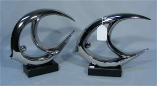 PAIR CHROME COLORED MODERN ABSTRACT FISH SCULPTURES