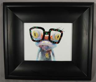 "ORIGINAL POP ART OIL ON CANVAS ""FROG WEARING GLASSES"""