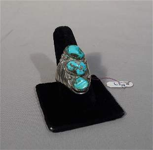 HEAVY VINTAGE STERLING SILVER & TURQUOISE NATIVE