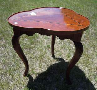 HAND CARVED & INLAID BAKER SIDE TABLE