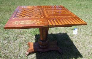 VINTAGE ITALIAN HAND CARVED & INLAID GAME TABLE