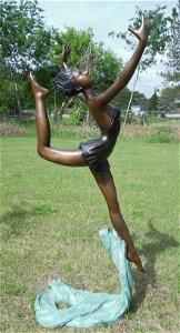 LARGE BRONZE SCULPTURE OF DANCING WOMAN