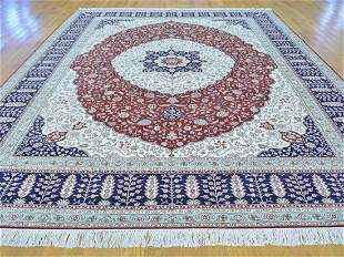 VERY FINE HAND KNOTTED SILK KASHAN AREA RUG
