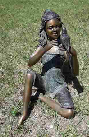 FINE VINTAGE BRONZE SCULPTURE OF YOUNG GIRL HOLDING