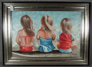 ADORABLE ORIGINAL OIL ON CANVAS OF THREE YOUNG GIRLS