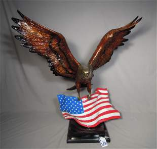 SPECTACULAR BRONZE SCULPTURE OF EAGLE WITH AMERICAN