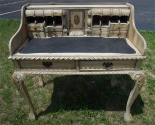 HAND CARVED WOODEN DESK WITH LEATHER WRITING AREA