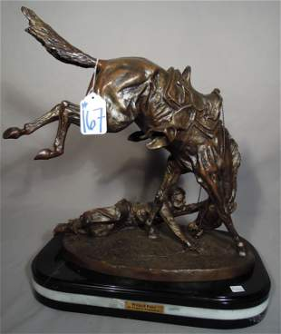 """AFTER FREDERIC REMINGTON BRONZE SCULPTURE """"WICKED PONY"""""""