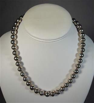 LADIES STERLING SILVER BEAD NECKLACE