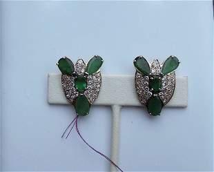 LADIES 14K Y.G., EMERALD & DIAMOND EARRINGS