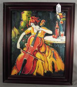 ORIGINAL TARKAY STYLE OIL ON CANVAS OF WOMAN PLAYING