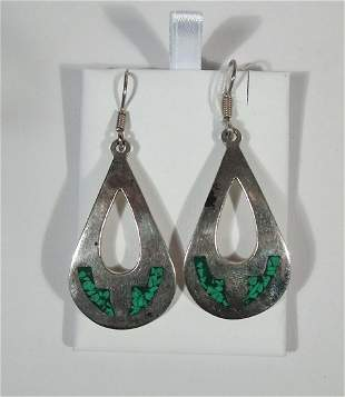 PAIR LADIES VINTAGE MEXICAN STERLING SILVER & TURQUOISE