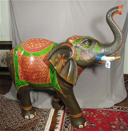 LARGE HAND PAINTED SCULPTURE OF ELEPHANT