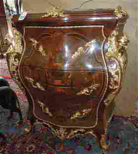 FABULOUS FRENCH INLAID WOODEN CHEST WITH MARBLE TOP