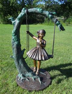 ADORABLE LIFESIZE BRONZE SCULPTURE OF YOUNG GIRL ON