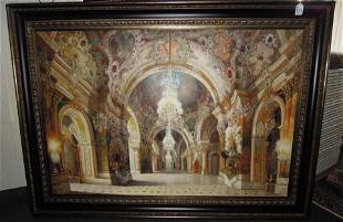 OUTSTANDING ORIGINAL OIL ON CANVAS: INTERIOR PALACE