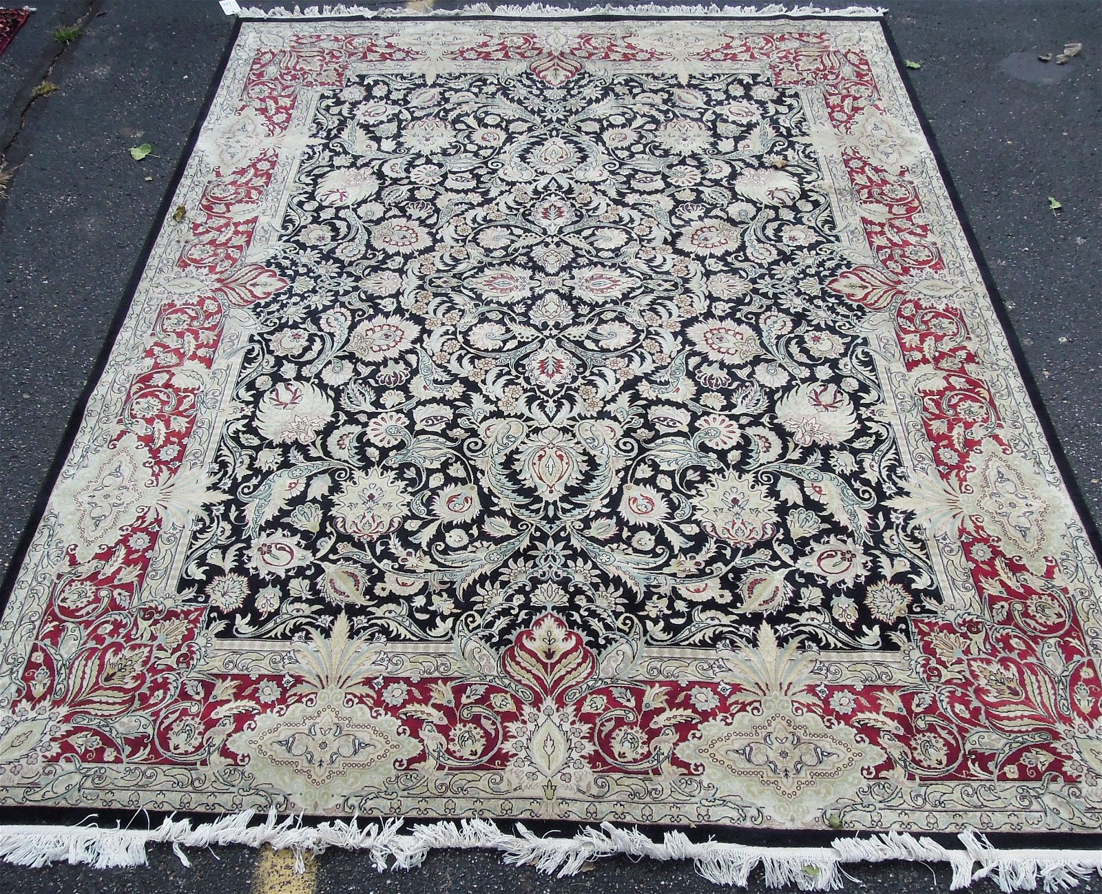 VERY FINE HAND KNOTTED WOOL & SILK KASHAN AREA RUG