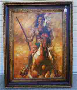 """LARGE SPECTACULAR ORIGINAL OIL ON CANVAS """"INDIAN ON"""