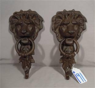 PAIR HEAVY CAST IRON LION DOOR KNOCKERS
