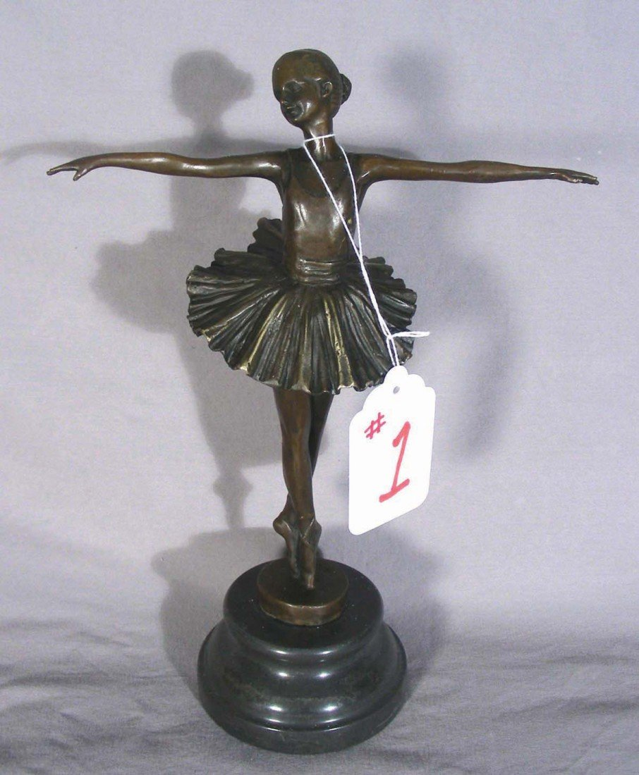 1: BRONZE SCULPTURE OF STANDING BALLERINA She has outst