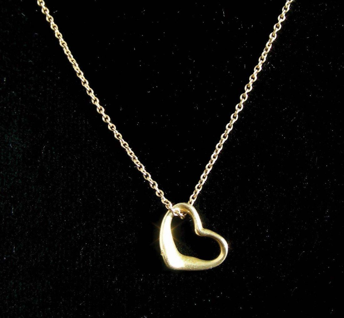 """2: LADIES 18K YELLOW GOLD """"TIFFANY & CO."""" HEART NECKLAC"""