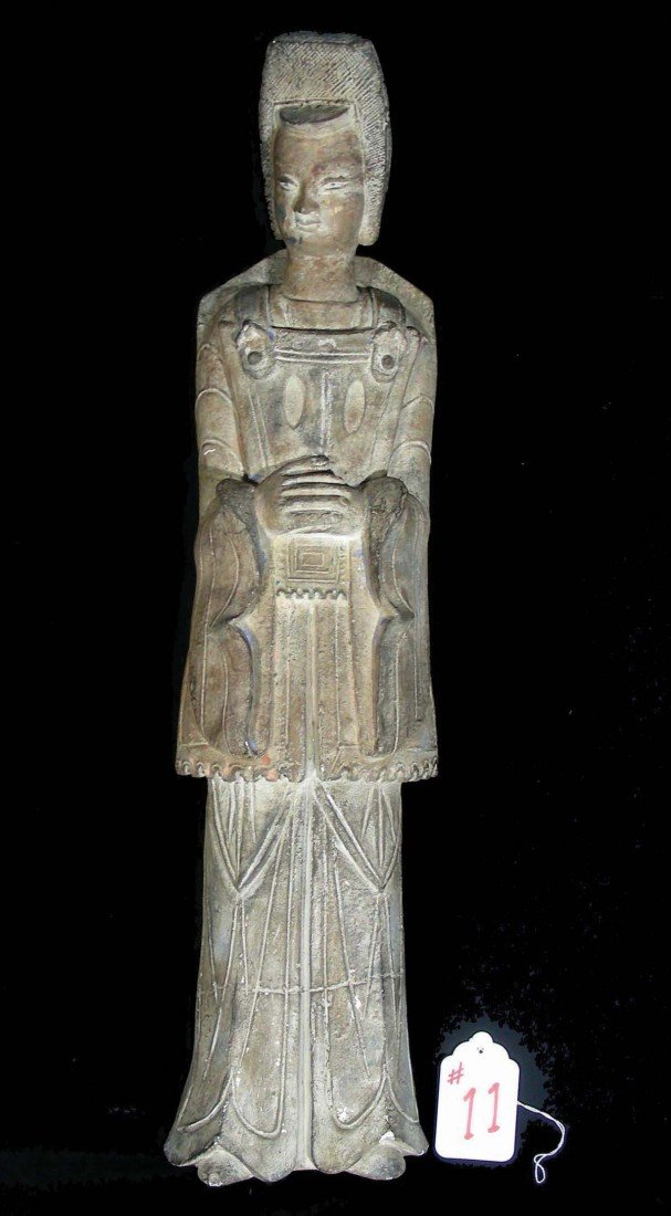11: HEAVY CHINESE PLASTER SCULPTURE OF TOMB GUARDIAN 2'
