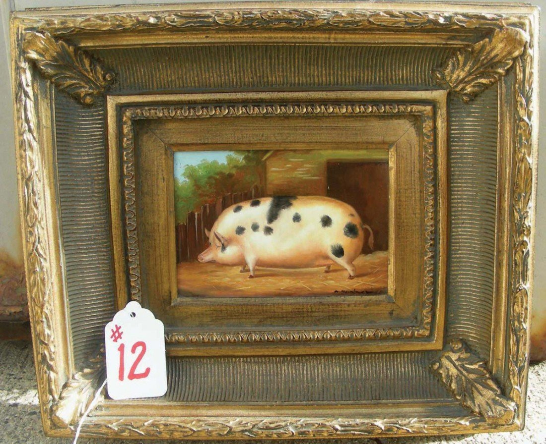 """12: OIL ON BOARD """"PIG"""" Signed lower right.  Ornate gilt"""