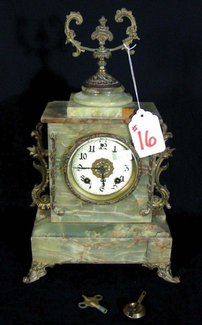 16: ANTIQUE ONYX MANTLE CLOCK Beautiful ornate clock wi