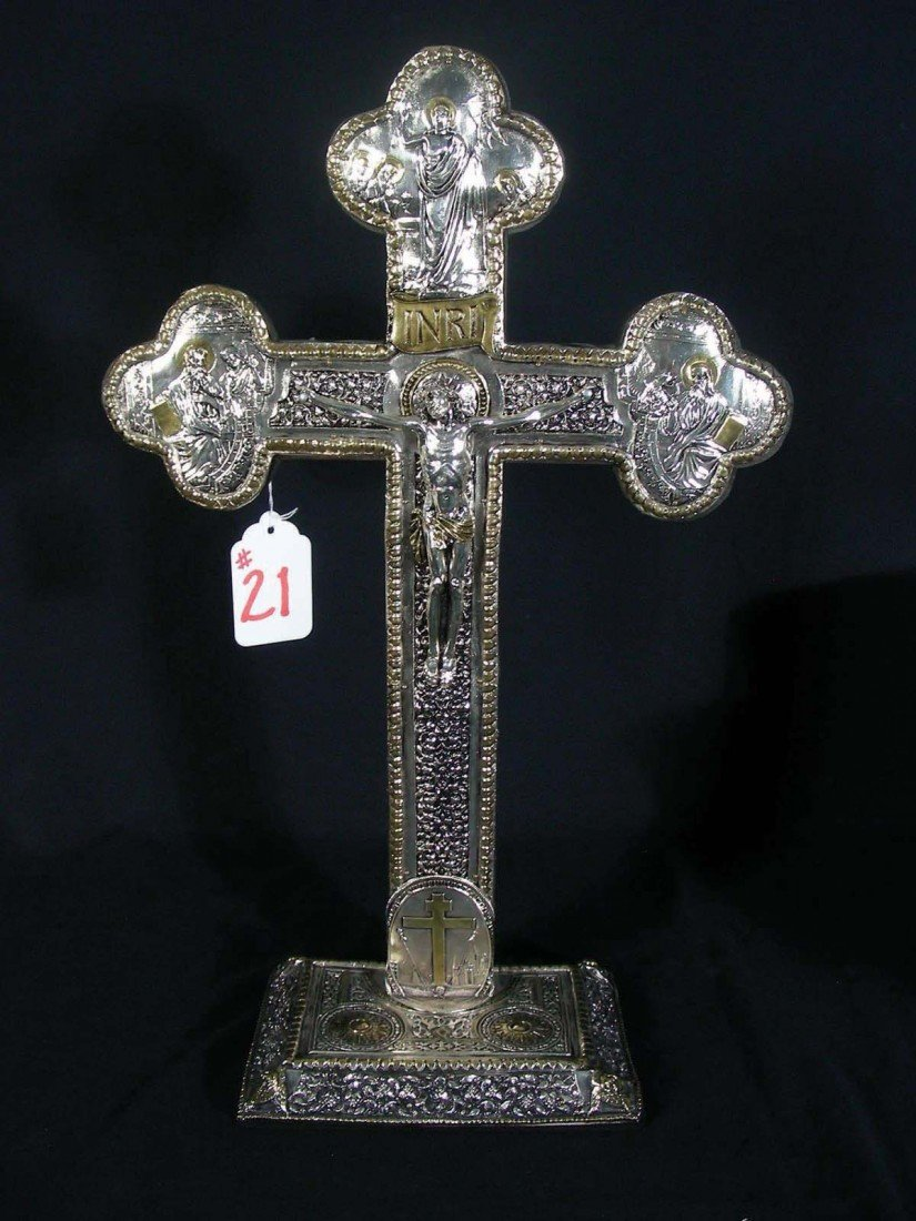 21: MODERN WOODEN AND SILVER PLATED HAND HAMMERED ICON/