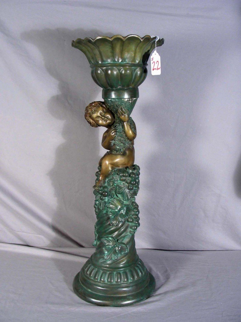 22: HEAVY BRONZE PLANTER WITH PUTTI Ribbed design base