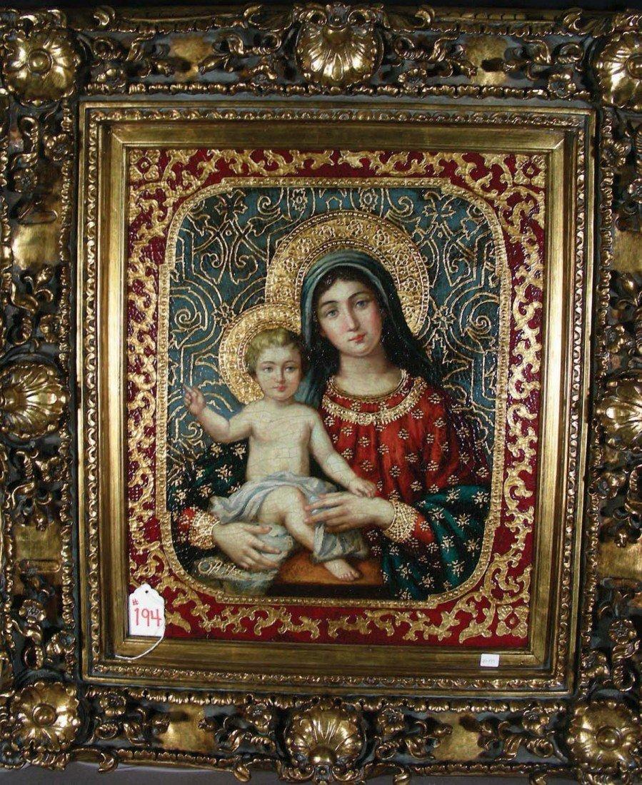 """194: BEAUTIFUL OIL ON CANVAS """"MADONNA AND CHILD"""" A high"""