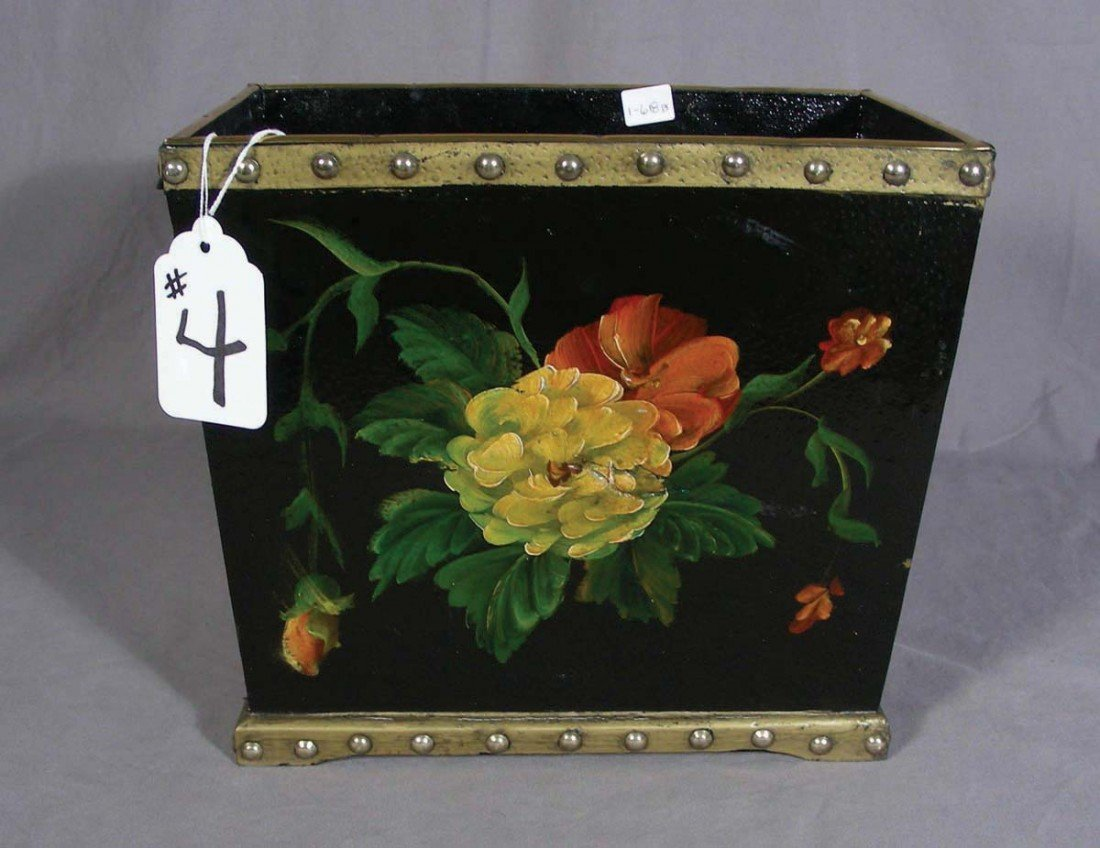 4: HAND PAINTED WASTE BASKET