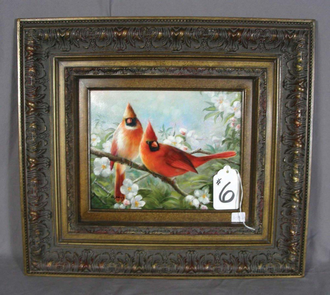 6: OIL ON CANVAS: TWO CARDINALS