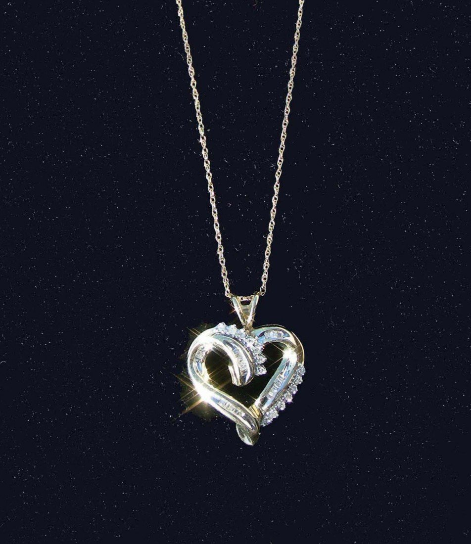 13: LADIES 10K YELLOW GOLD AND DIAMOND HEART NECKLACE