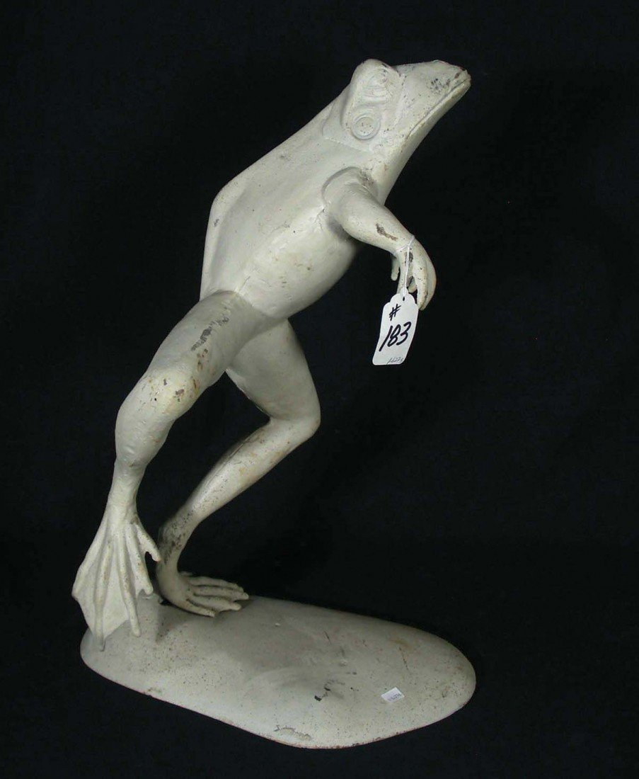 183: OLD CAST IRON SCULPTURE OF FROG