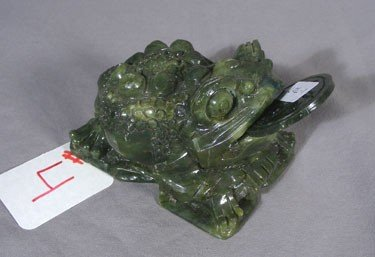 4: CHINESE CARVED HARD STONE MONEY FROG