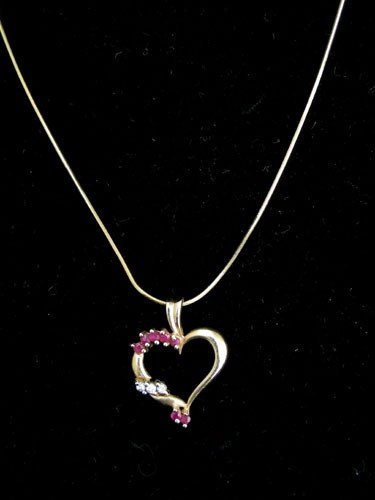 13: 14K YELLOW GOLD, RUBY & DIAMOND HEART NECKLACE