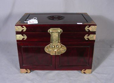 21: CHINESE ROSEWOOD CARVED JEWELRY BOX WITH BRASS APPO