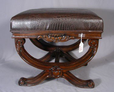 22: CARVED MAHOGANY AND LEATHER BENCH