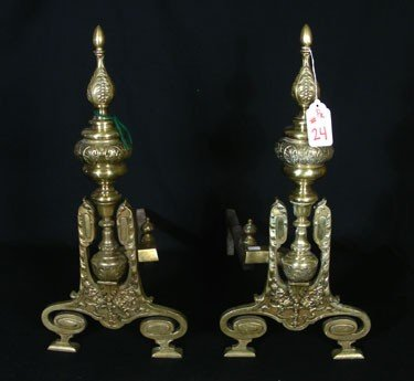 24: PAIR OLD, HEAVY BRASS ANDIRONS