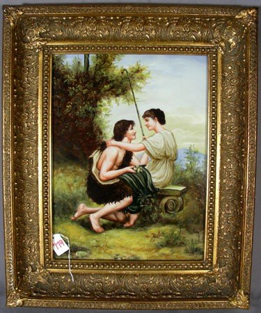 179: HAND PAINTED PORCELAIN PLAQUE: COURTSHIP SCENE