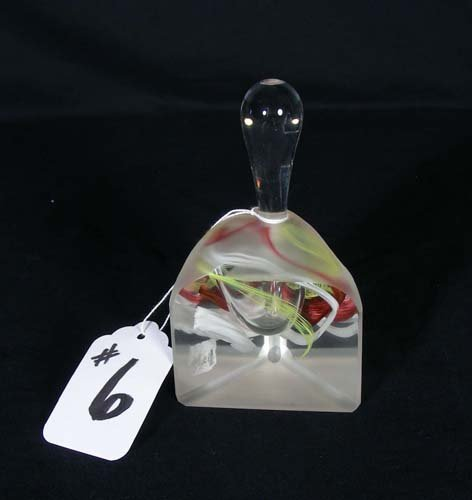 6: HAND BLOWN ART GLASS PERFUME BOTTLE